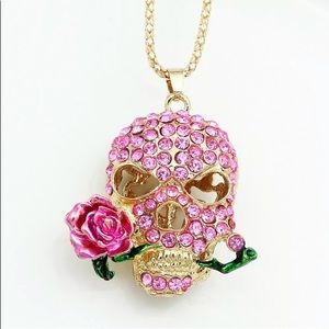 NWT Betsey Johnson Pink Crystal Rose Skull Necklac